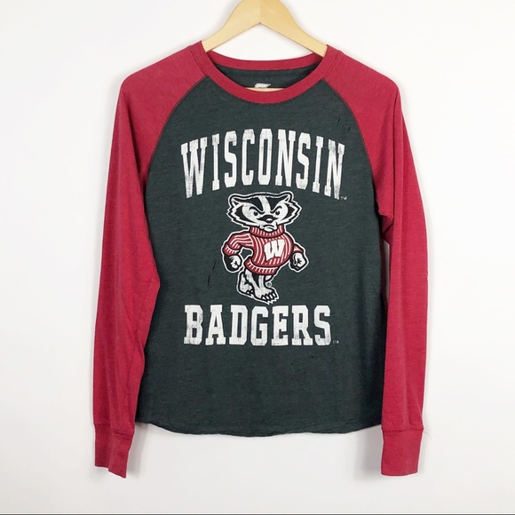 7c44a09b Colosseum Tops | Wisco U Of Wisconsin Badgers Hand Distressed Tee ...